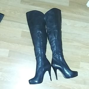 Over the knee fold over leather stiletto boot